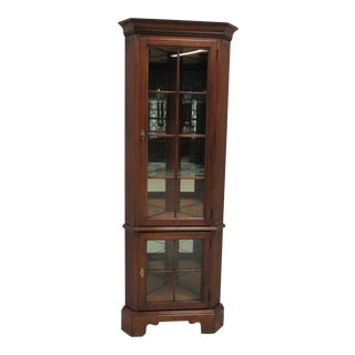 Harden Furniture Solid Cherry Chippendale Corner Cabinet For Sale