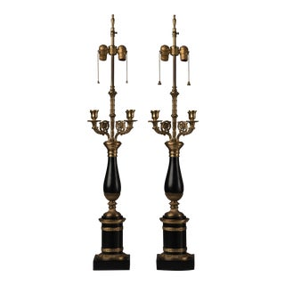 1940s Antique Warren Kessler Black and Brass Candelabra Lamps - A Pair For Sale