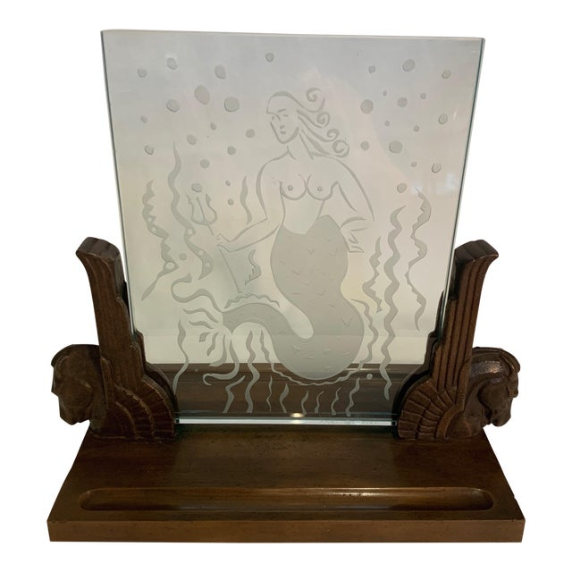 1920s Art Deco Glass Panel on Bronze Base For Sale