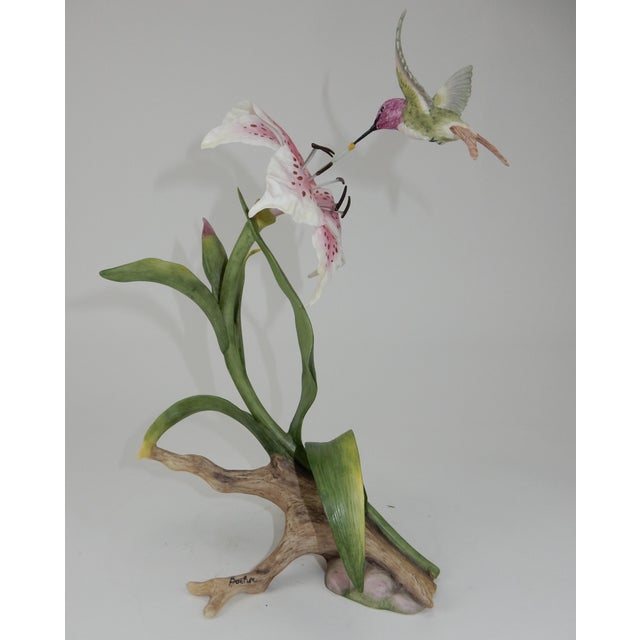 """Boehm Porcelain Sculpture 40399 """"Costa's Hummingbird W/Rubrum Lily"""" Gorgeous colors and life like details. Buy with..."""