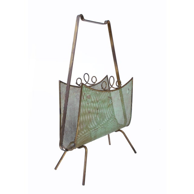 Brass Magazine Rack Attributed to Mathieu Matégot For Sale - Image 10 of 10