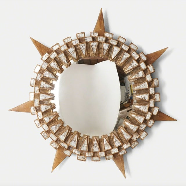 A unique mirror completely hand made by Line Vautrin using Talosel resin with mirror inlays and a convex mirror. France....