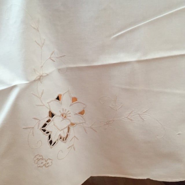 Tan Vintage Ecru Cotton/Linen Cutwork Table Cloth and Napkins For Sale - Image 8 of 13