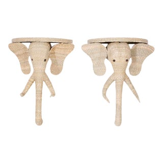 Wicker Elephant Consoles From the FS Flores Collection - a Pair For Sale