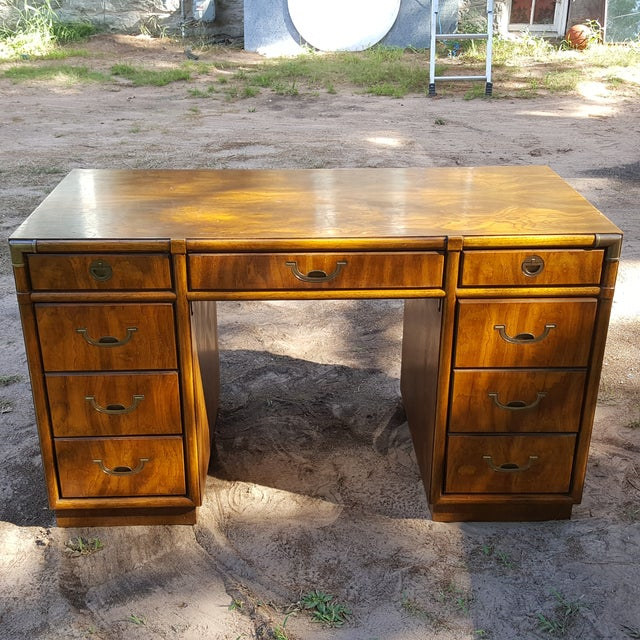 1960s Drexel Campaign Style Desk - Image 2 of 10