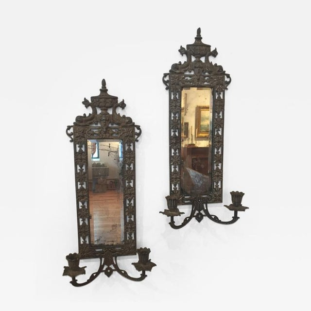 Cast Iron 19th Century Victorian Cast Iron Sconces - a Pair For Sale - Image 7 of 7