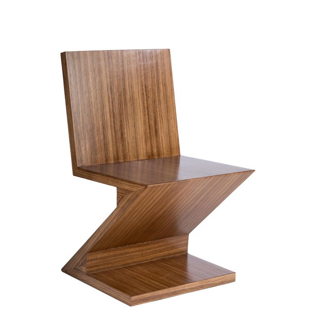Contemporary Zig Zag Chair in Brown For Sale - Image 3 of 6