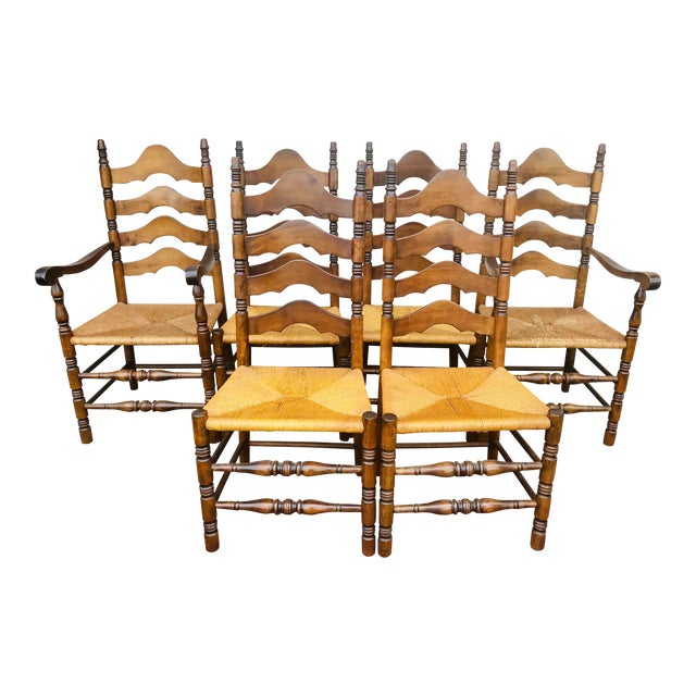 Vintage French Ladder Back Chairs Set Of 6 Chairish