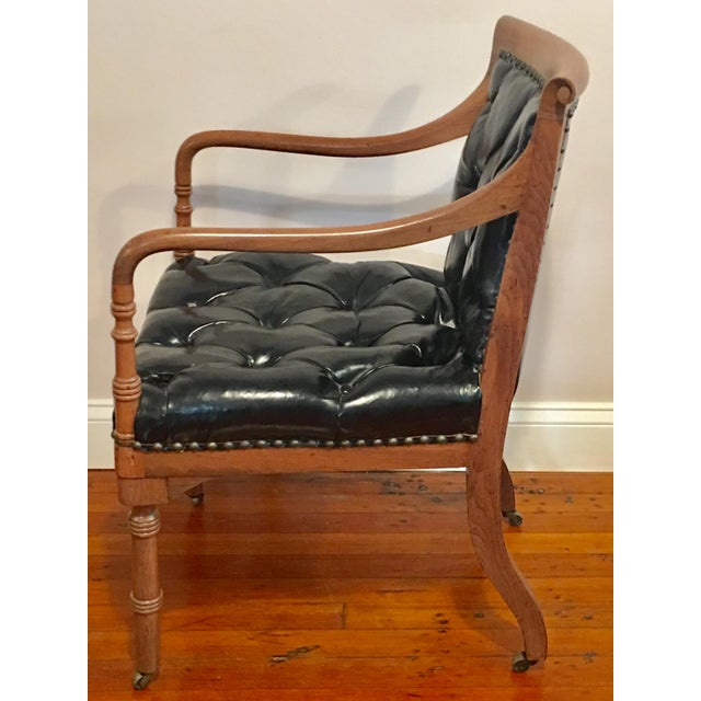 **Final Price** Vintage Tufted Black Leather Arm Chair For Sale - Image 4 of 7