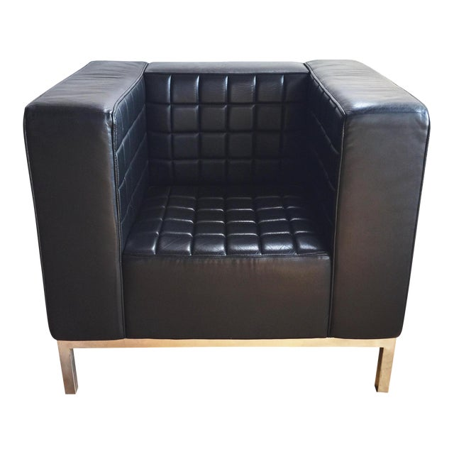 Custom Leather Tufted Club Chair - Image 1 of 8