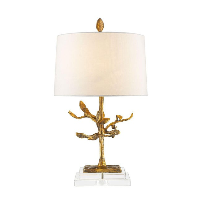 Audubon Park Nature Form Gold Plaster Table Lamp For Sale - Image 4 of 8