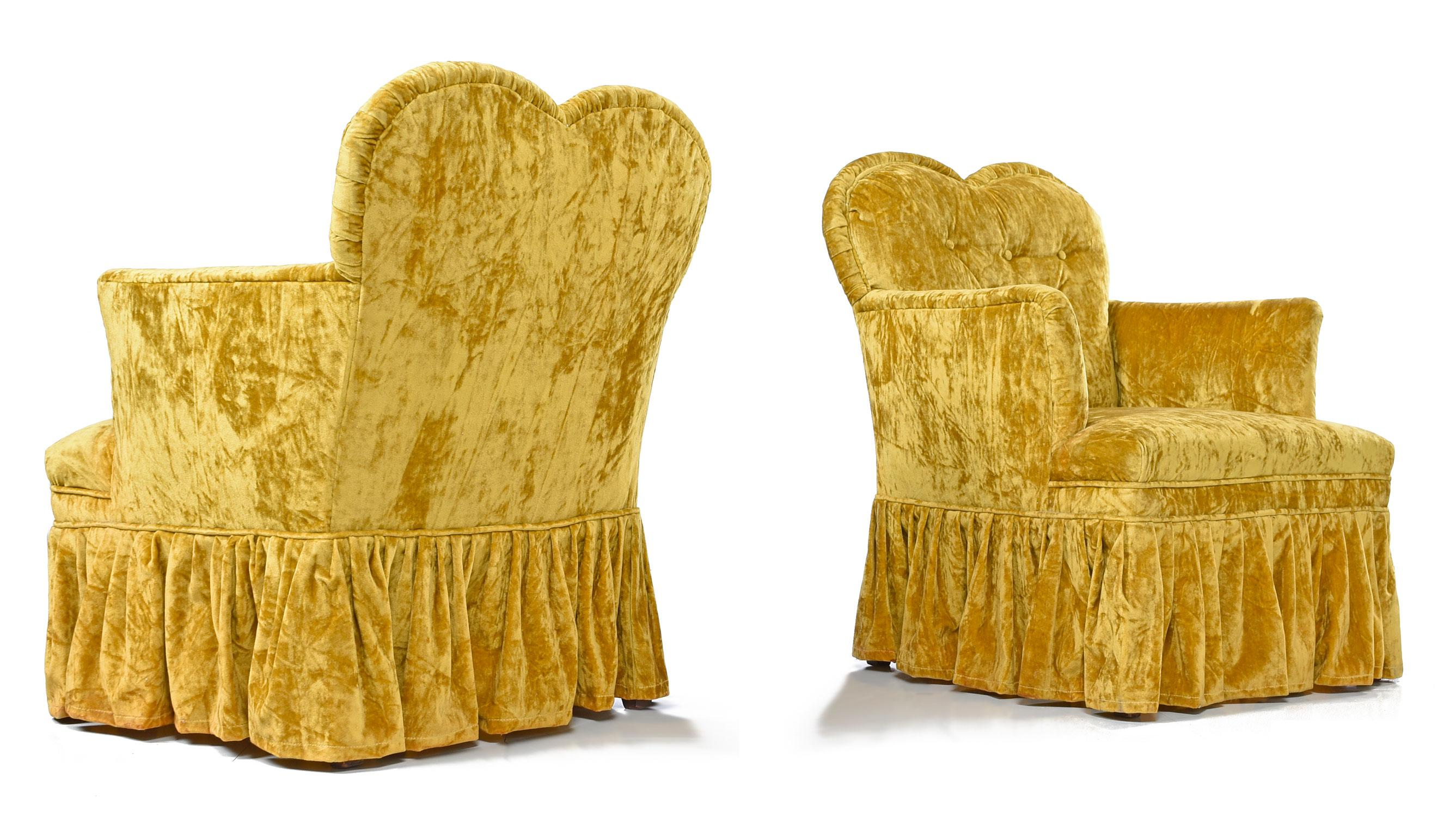Petit Crushed Velvet Heart Shaped Hollywood Regency Chartreuse Chairs    Image 2 Of 6