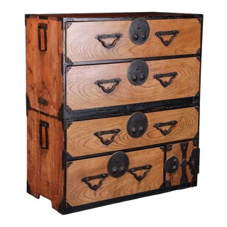 19th Century Japanese Tansu Elmwood Chest For Sale