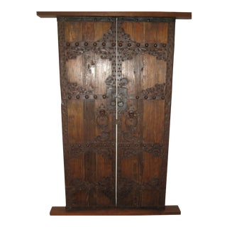 Antique Chinese Asian Solid Elm Wood Garden Door-a Pair For Sale