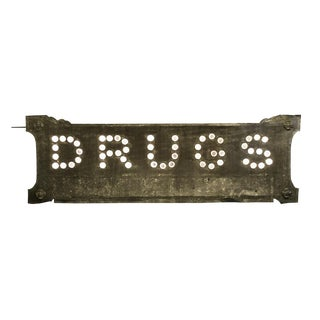Double-sided Glass Cat's Eye Drugs Sign Circa 1900