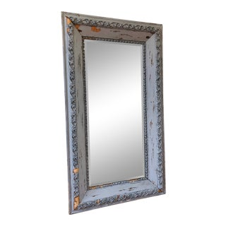 Antique Chippy Gray Frame Wall Mirror For Sale