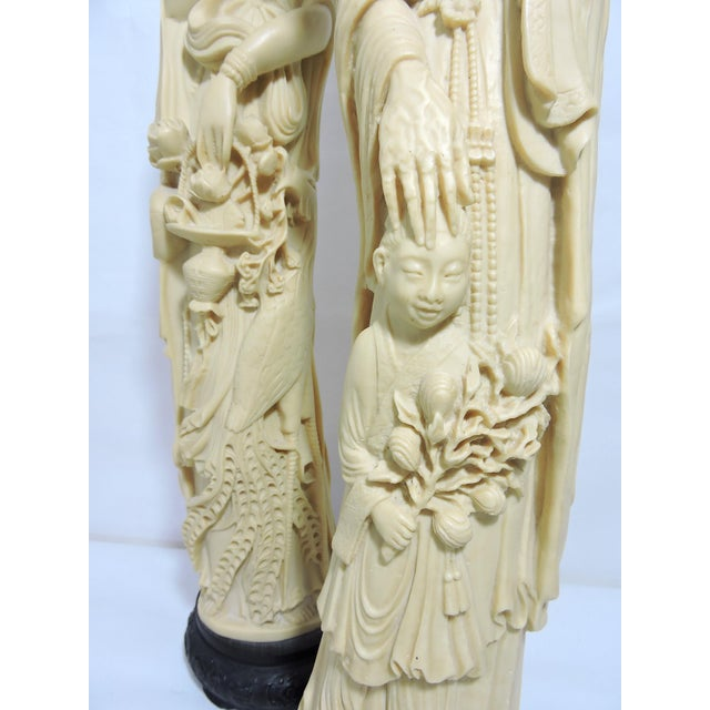 Plastic Mid 20th. Century Italian / Chinese 'Ivory' (Resin) Nobles Statues or Figures - a Pair For Sale - Image 7 of 11