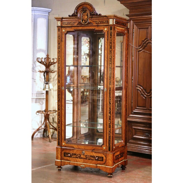 19th Century French Louis XVI Walnut Marquetry Vitrine With Glass Sides and Door For Sale - Image 13 of 13