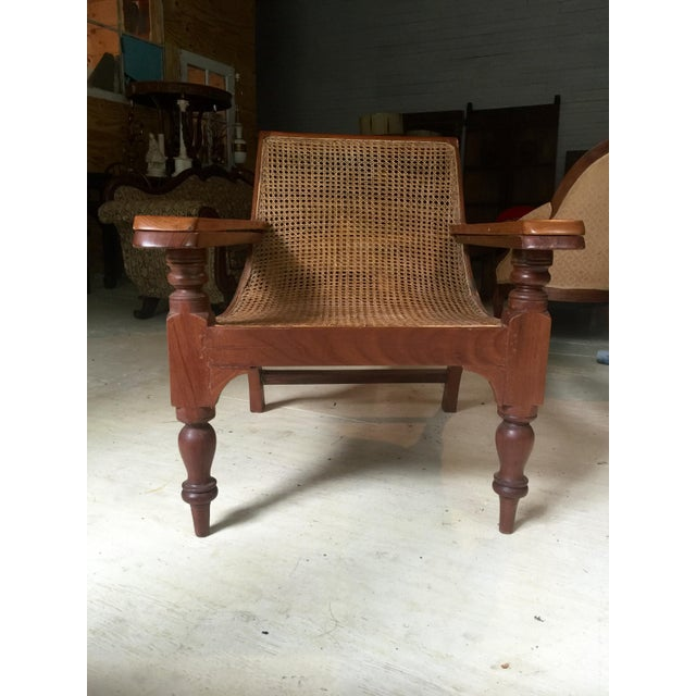 Asian Antique Teak Colonial Plantion Chair With Fold Out Arms For Sale - Image 3 of 5