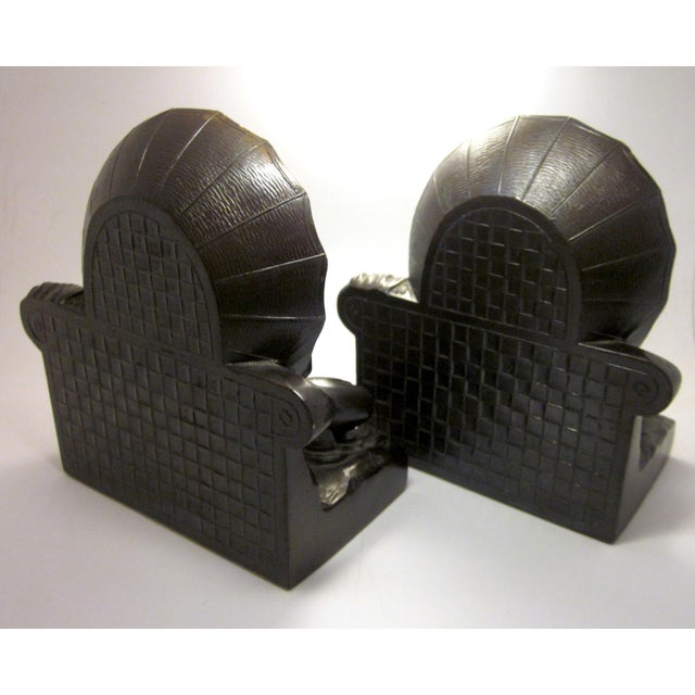 "Art Deco Early 20th Century Art Nouveau/Art Deco ""Umbrella Girl"" Cast Metal Bookends - a Pair For Sale - Image 3 of 10"