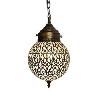 Brass Lace Globe Pendant Small For Sale