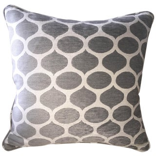 Grey and Off White Chenille Pillow Cover From Belgium For Sale