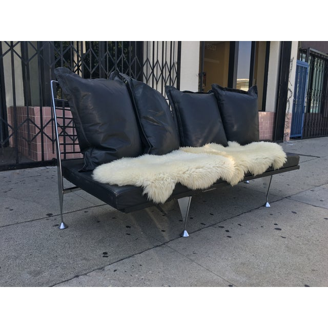1980s Chrome & Leather Sofa - Image 6 of 11