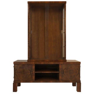 Rosewood Art Deco Display Cabinet and Credenza, Circa 1930
