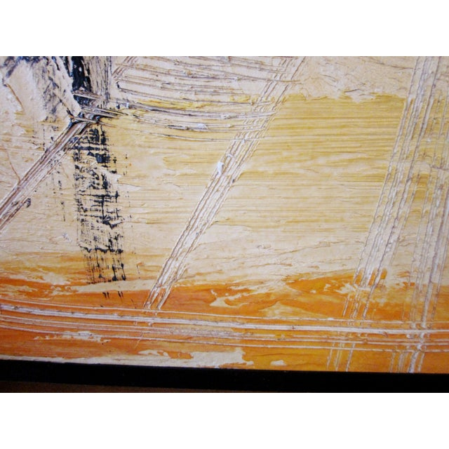 Black Mid-Century Modern Signed Van Hoople Modernist Industrial Abstract Landscape Impasto Style Oil on Canvas Painting For Sale - Image 8 of 9