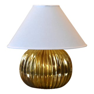 Mid-Century Modern Golden Ribbed Table Lamp With Oval Linen Shade, Italy For Sale
