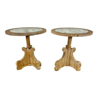 Pair of Rustic Italian Tables With Mirrored Tops For Sale