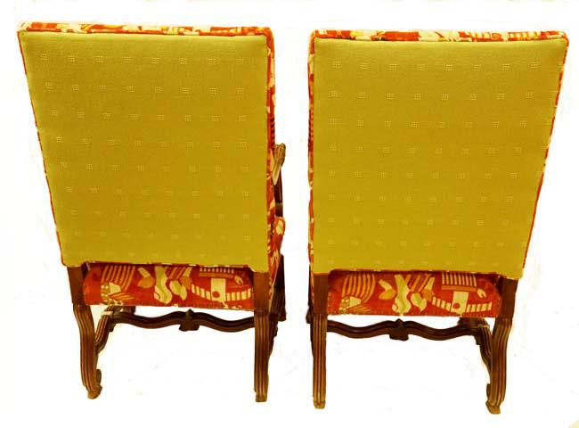 Green 19th C. Italian Arm Chairs In Custom Tailored Clarence House Cut  Velvet Monkey Fabric
