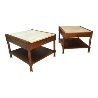 1970s Mid-Century Modern Walker Zinger Travertine Top Side Tables - a Pair For Sale