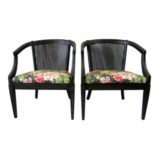 Vintage Mid Century Caned-Back Chairs- A Pair For Sale