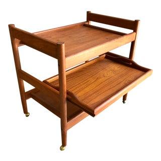 Mid Century Danish Modern Teak Bar Serving Cart by Dixie For Sale