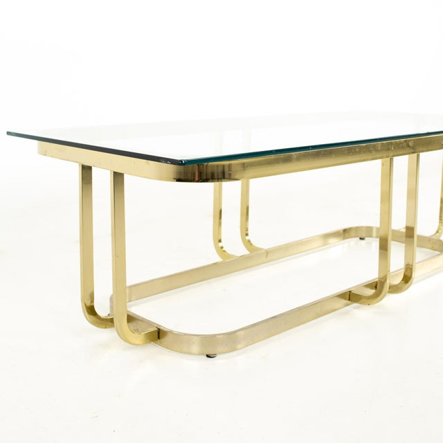 Milo Baughman Milo Baughman Style Mid Century Brass and Glass Coffee Table For Sale - Image 4 of 12
