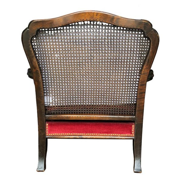 1920s Vintage Red Velvet Carved Bergère Armchair With Cane Sides and Back For Sale - Image 5 of 11