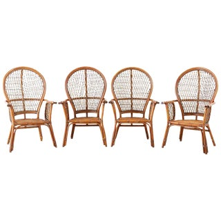 Set of Four Ficks Reed Rattan Peacock Lounge Chairs For Sale