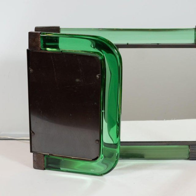 Green Italian Mid-Century Emerald Glass, Bronze and Glass Illuminated Vanity Mirror For Sale - Image 8 of 10