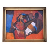 "Image of Abstract Oil Figure Painting ""The Moon With Us"" by Anne Darby Parker For Sale"