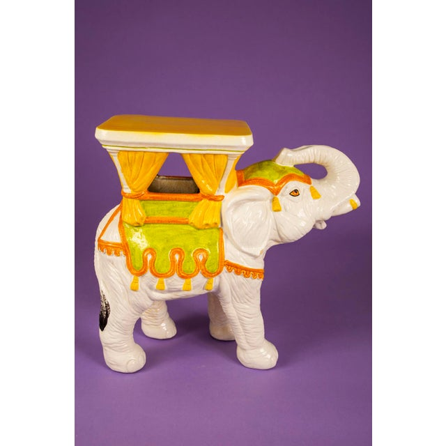 Hollywood Regency 1960's Mid-Century Hand Painted Italian Elephant Plant Stand For Sale - Image 3 of 6
