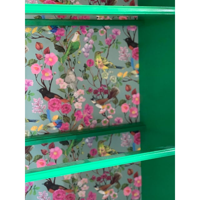 1960's Vintage Green Lacquered China Cabinet For Sale - Image 4 of 11