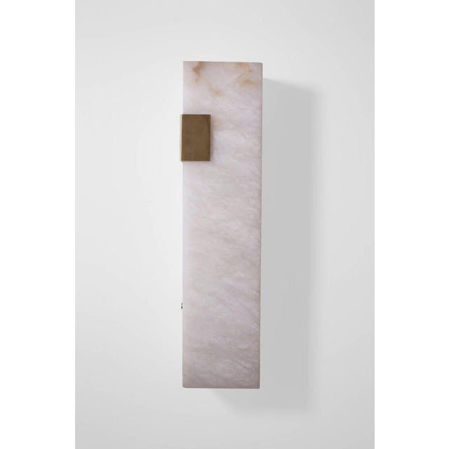 Contemporary Contemporary 003-1c Sconce in Brushed Brass and Alabaster by Orphan Work, 2018 For Sale - Image 3 of 4