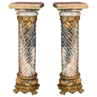 Palatial Twisted Marble Pedestals - A Pair For Sale