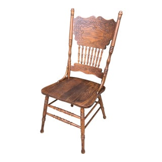 20th Century Early American Carved Mahogany Side Chair