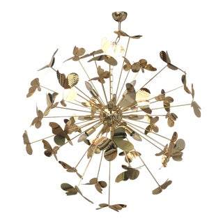 Italian Hand Made Gold 24k Butterfly Chandelier Sputnik For Sale