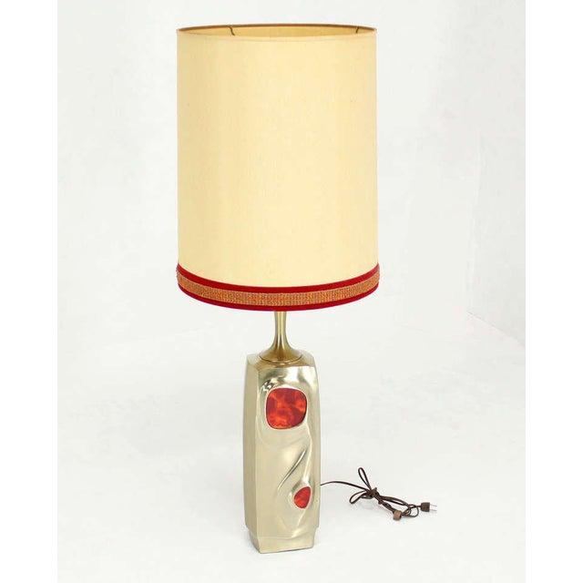 Mid-Century Modern Art Nouveau Style Cast Metal Table Lamp For Sale - Image 4 of 10