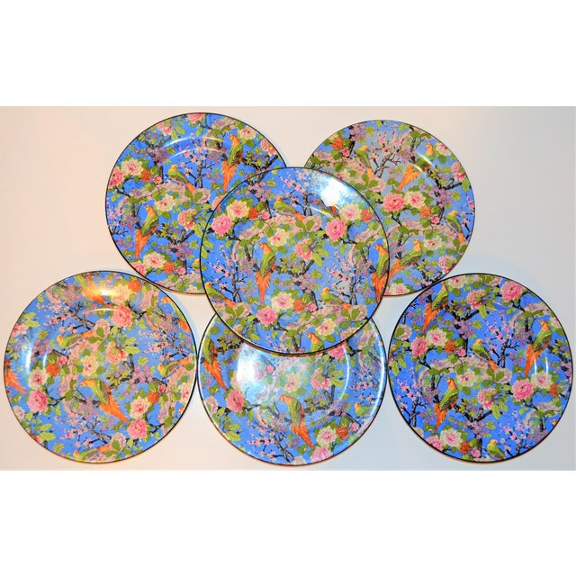 1920's Antique Crown Ducal Blue Chintz Plates - Set of 6 For Sale - Image 10 of 11