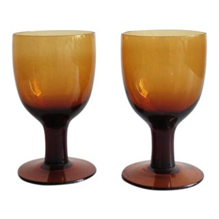Amber Glass Goblets - A Pair