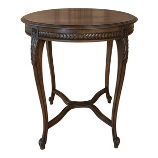 Antique Country French Round Center Table For Sale